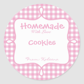 Homemade With Love Pink Gingham Round Sticker