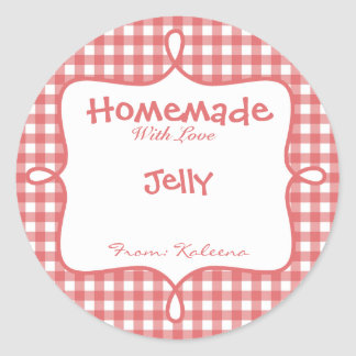 Homemade With Love Red Gingham Round Sticker