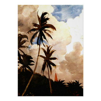Homer - Palm Trees, Bahamas Poster