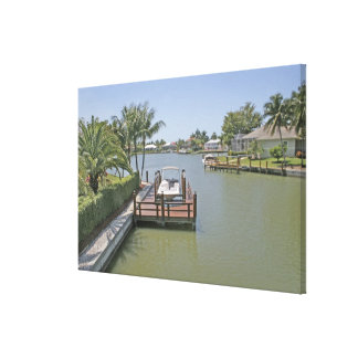 Homes and docks on canal Marco Island Florida Stretched Canvas Print