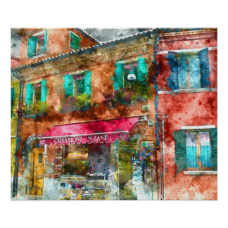 Homes in Burano Italy near Venice Poster