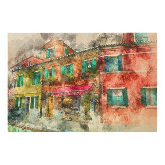 Homes in Burano Italy near Venice Wood Print