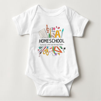 Homeschool Fueled by Love and Strong Coffee Baby Bodysuit