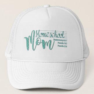 """Homeschool Mom""  Cap (White/Dark Mint)"