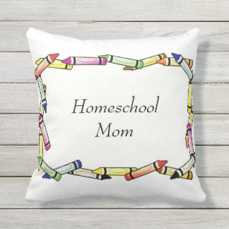 Homeschool Mom Choose The Color on Back Side Throw Pillow