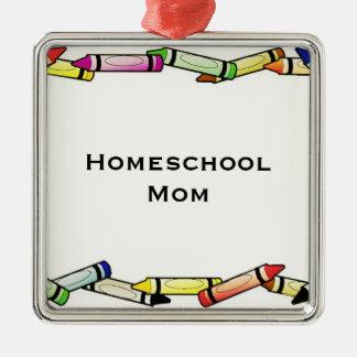 Homeschool Mom Silver-Colored Square Ornament