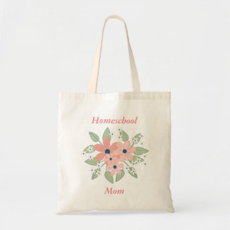 Homeschool Mom Pink and Green Floral Tote Bag