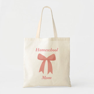 Homeschool Mom Pink Ribbon Tote Bag