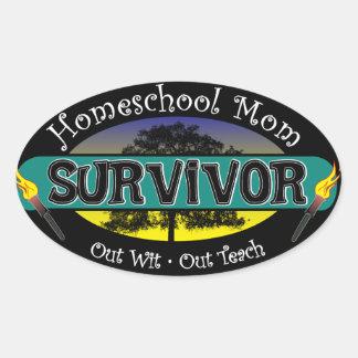 Homeschool Mom Survivor Oval Sticker