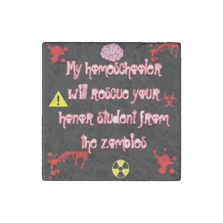 Homeschool Zombie Marble Stone Magnet, Individual Stone Magnets