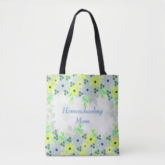 Homeschooling Mom Yellow and Green Flower Print Tote Bag