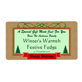 Homespun Burlap with Holiday Trees Framed Gift Shipping Label