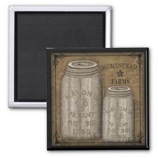Homestead Primitive Canning Jar Magnet