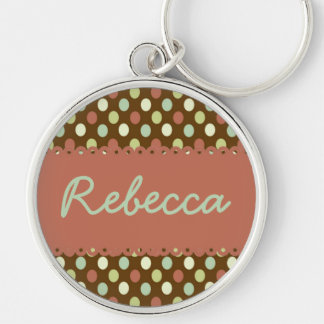 Hometown Wishes Polka Dot Personalized Silver-Colored Round Keychain
