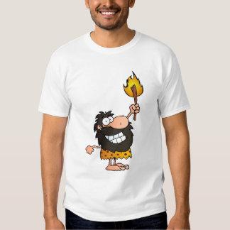 Homme des cavernes avec la torche t-shirt