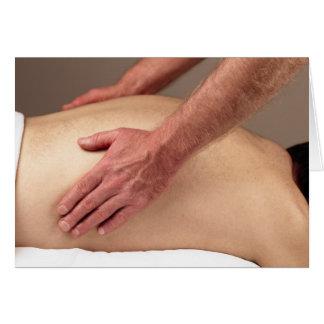 Homme massant les arrières d'un client de massage cartes de vœux
