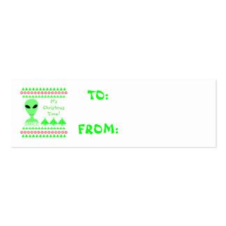 Homme vert de l'alien LGM de sourire petit Modèle De Carte De Visite