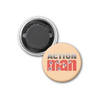 Hommes d'action magnet carré 2,50 cm