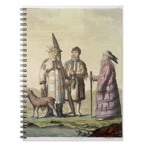 Hommes d'Alaska et femmes habillés pour pêcher (co Carnets À Spirale