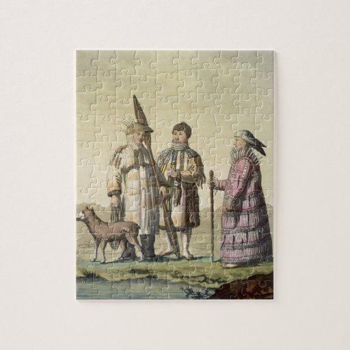 Hommes d'Alaska et femmes habillés pour pêcher (co Puzzles