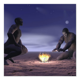 Homo erectus and fire - 3D render Card