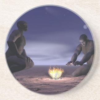 Homo erectus and fire - 3D render Coaster
