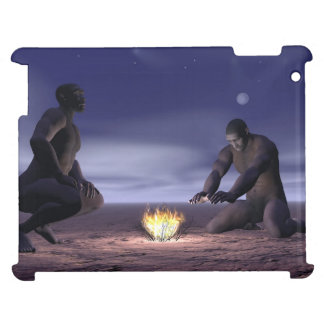 Homo erectus and fire - 3D render Cover For The iPad 2 3 4