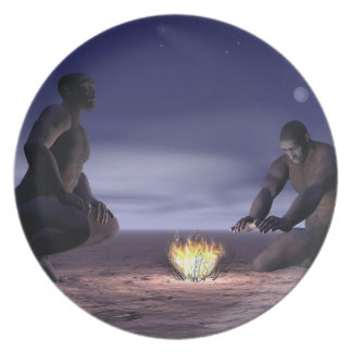 Homo erectus and fire - 3D render Dinner Plate