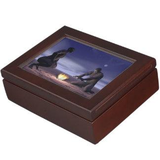 Homo erectus and fire - 3D render Keepsake Box