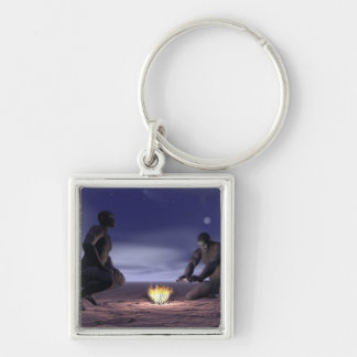 Homo erectus and fire - 3D render Keychain