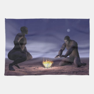 Homo erectus and fire - 3D render Kitchen Towel