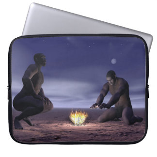 Homo erectus and fire - 3D render Laptop Sleeves