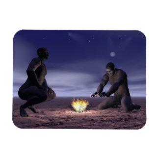 Homo erectus and fire - 3D render Magnet