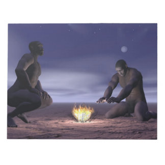 Homo erectus and fire - 3D render Notepad