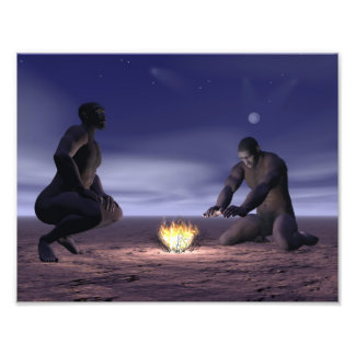 Homo erectus and fire - 3D render Photo Print