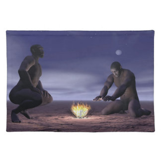 Homo erectus and fire - 3D render Placemat