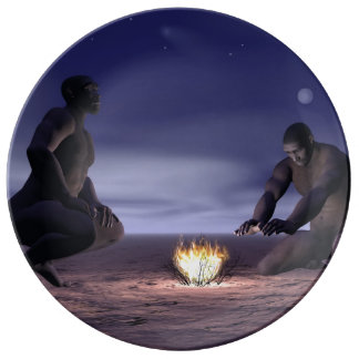 Homo erectus and fire - 3D render Porcelain Plate