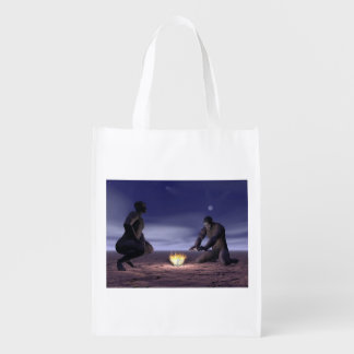 Homo erectus and fire - 3D render Reusable Grocery Bag