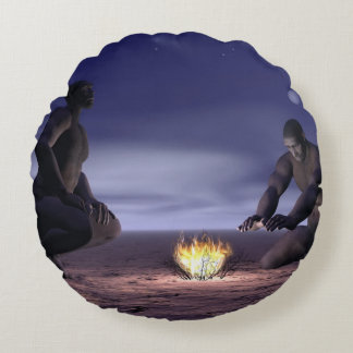 Homo erectus and fire - 3D render Round Pillow