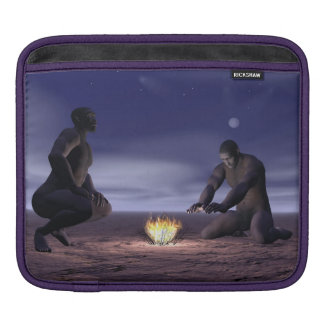 Homo erectus and fire - 3D render Sleeve For iPads