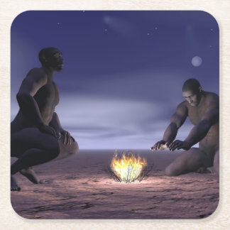 Homo erectus and fire - 3D render Square Paper Coaster