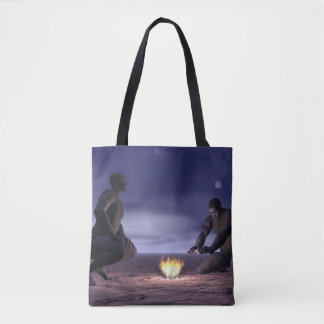 Homo erectus and fire - 3D render Tote Bag
