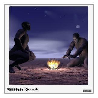 Homo erectus and fire - 3D render Wall Sticker