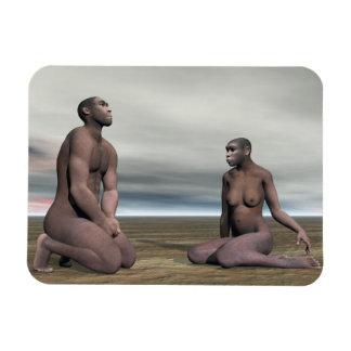 Homo erectus couple - 3D render Magnet