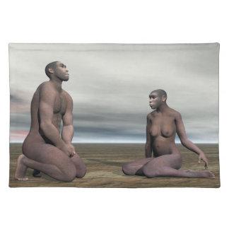 Homo erectus couple - 3D render Placemat