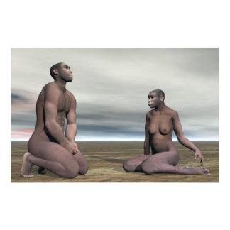 Homo erectus couple - 3D render Stationery
