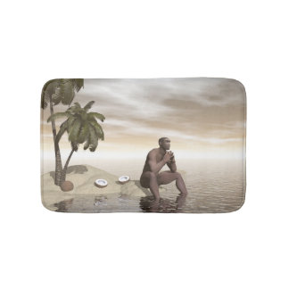 Homo erectus thinking alone - 3D render Bath Mat