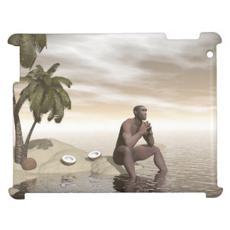 Homo erectus thinking alone - 3D render Case For The iPad 2 3 4