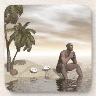 Homo erectus thinking alone - 3D render Coaster