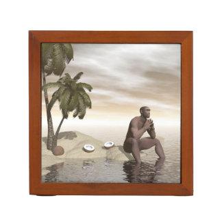 Homo erectus thinking alone - 3D render Desk Organizer